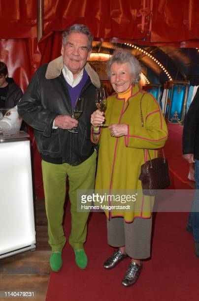 Harald Dietl and his wife Helga Dietl attend the premiere of new tour program MANDANA Ciruskunst neu getraeumt at Circus Krone on April 04 2019 in...