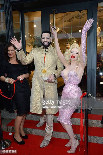Harald Gloeoeckler and Amanda Lepore attend the Harald Gloeoeckler Store Opening on April 14 2014 in Berlin Germany