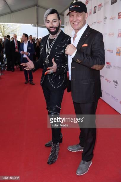 Harald Gloeoeckler and Axel Schulz attend the 'Goldene Sonne 2018' Award by SonnenklarTV on April 7 2018 in Kalkar Germany