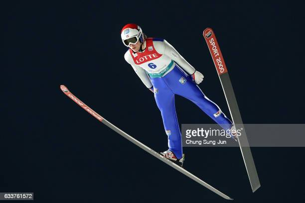Harald Johnas Riiber of Norway competes in the Individual Gundersen Large Hill 10km during the FIS Nordic Combined World Cup presented by Viessmann...