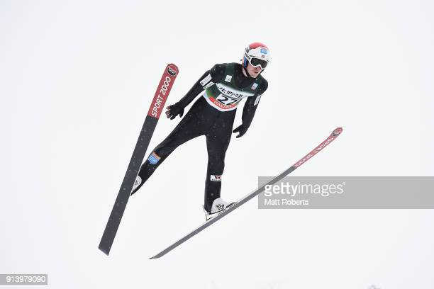 Harald Johnas Riiber of Norway competes in the Individual Gundersen LH/10km during day two of the FIS Nordic Combined World Cup Hakuba on February 4...