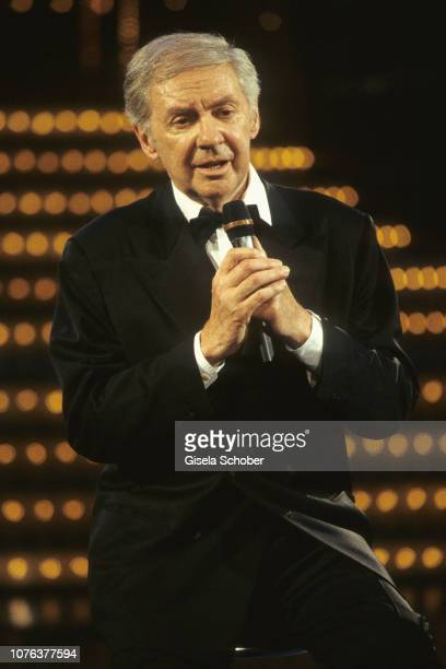 Harald Juhnke is seen on stage during his birthday celebration in May 1999 in Berlin Germany