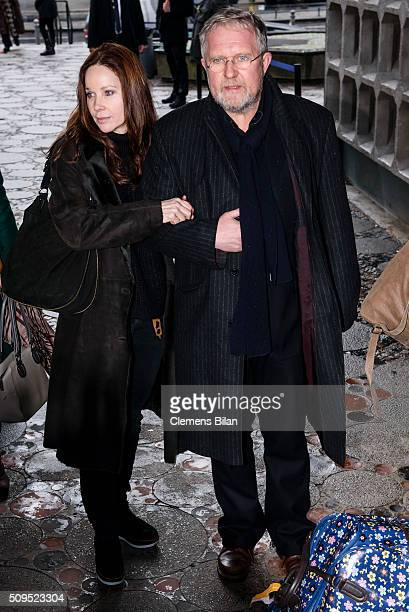 Harald Krassnitzer and AnnKathrin Kramer attend the Wolfgang Rademann memorial service on February 11 2016 in Berlin Germany