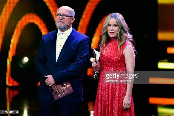Harald Krassnitzer and AnnKathrin Kramer on stage during the Bambi Awards 2017 show at Stage Theater on November 16 2017 in Berlin Germany