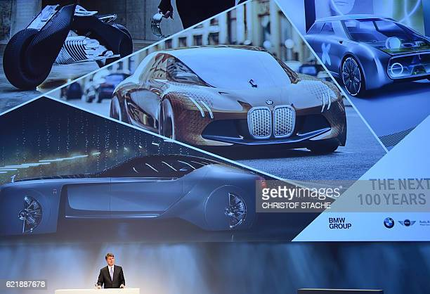 Harald Krueger CEO of the German car maker BMW speaks during the socalled AutoGipfel automotive meeting in Munich southern Germany on November 9 2016...