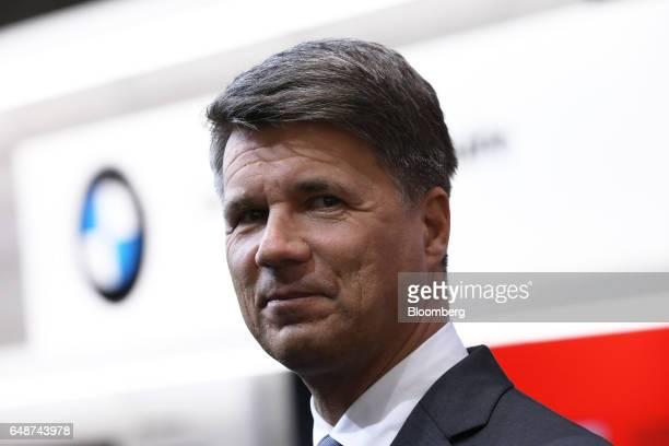 Harald Krueger chief executive officer of Bayerische Motoren Werke AG looks on ahead of the 87th Geneva International Motor Show in Geneva...