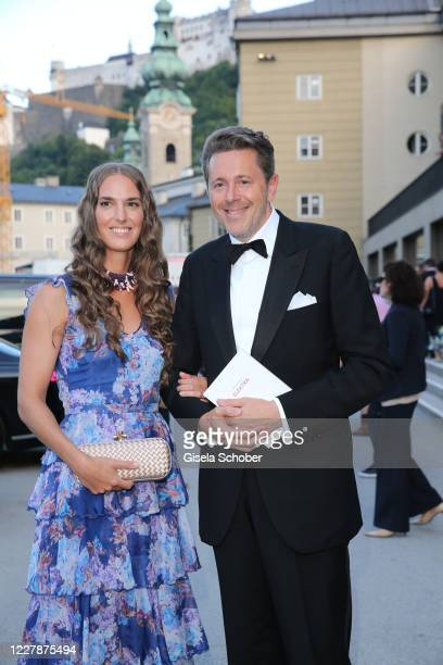 "Harald Mahrer and his wife Andrea Samonigg-Mahrer arrive for the premiere of ""Elektra"" during the opening of the Salzburg Festival 2020 at Salzburg..."