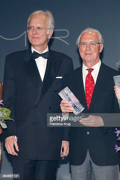 Harald Schmidt and Franz Beckenbauer attend the Mira Award 2014 on January 23, 2014 in Berlin, Germany.