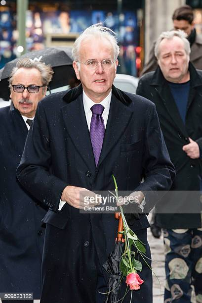 Harald Schmidt and Wolfgang Stumph attends the Wolfgang Rademann memorial service on February 11 2016 in Berlin Germany