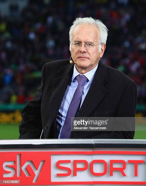 Harald Schmidt looks on prior the DFB Cup final match between Borussia Dortmund and FC Bayern Muenchen at Olympic Stadium on May 12, 2012 in Berlin,...
