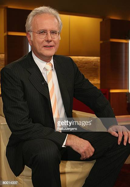 Harald Schmidt poses after the taping of the 'Maischberger Talk show' on February 26 2008 in Cologne Germany