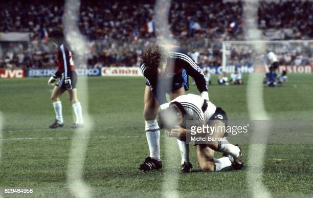 Harald Schumacher and Uli Stielike of Germany after misses a penalty during of the game Semi Final World Cup match between West Germany and France...