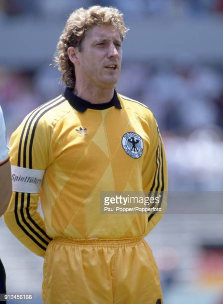 Harald Schumacher lines up for West Germany before the FIFA World Cup match between Scotland and West Germany at the Estadio Corregidora in Queretaro...