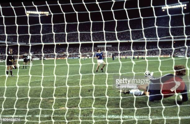 Harald Schumacher of Germany save a penalty shoot by Didier Six of France during of the game Semi Final World Cup match between West Germany and...