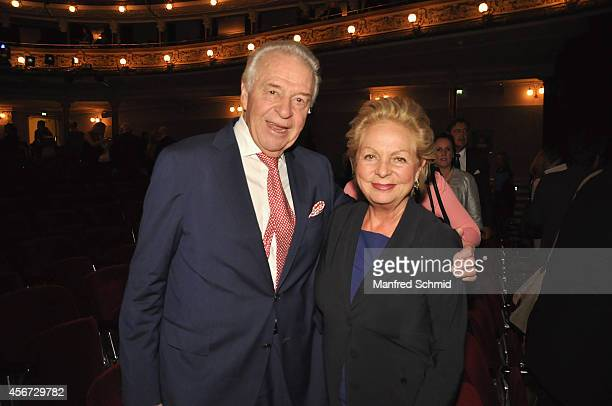 Harald Serafin and Ingeborg Serafin attend the Mary Poppins musical premiere at Ronacher Theater on October 1 2014 in Vienna Austria