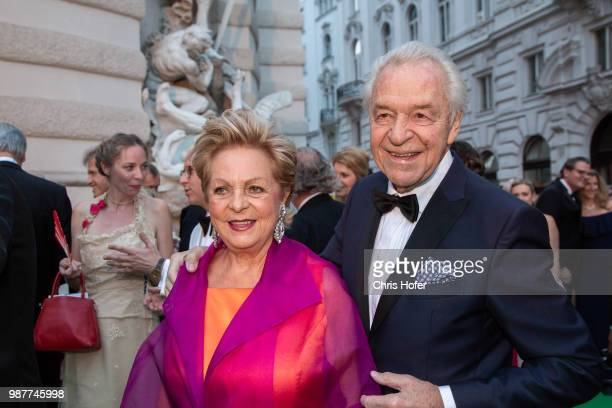 Harald Serafin with his wife Ingeborg during the Fete Imperiale 2018 on June 29 2018 in Vienna Austria