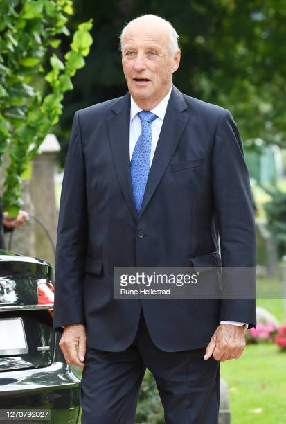 Harald V of Norway attends Prince Sverre Magnus' confirmation service at Asker Church on September 5 2020 in Oslo Norway
