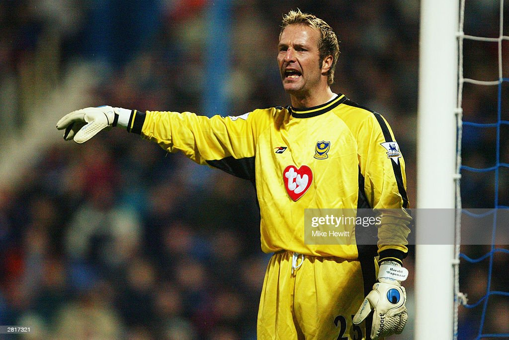 Harald Wapenaar of Portsmouth signals to a team mate during the FA Barclaycard Premiership match between Portsmouth and Leicester City on November 29, 2003 at Fratton Park in Portsmouth, England. Leicester City won the match 2-0.