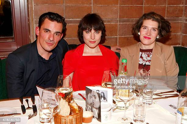 Harald Wegener Antje Traue and Leena Zimmermann attend the Drykorn X Bungalow Dinner at Pauly Saal on March 12 2014 in Berlin Germany