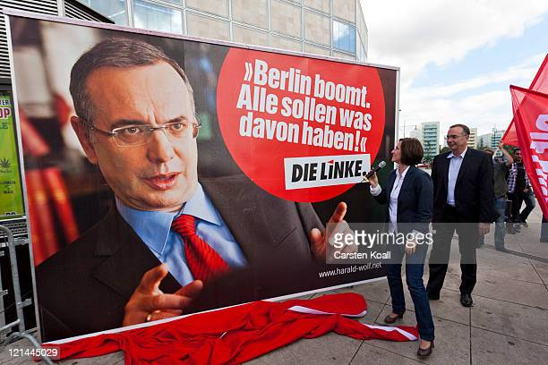 Harald Wolf Die Linke mayoral candidate and also finance senator of the city of Berlin and Carola Blum senator for integration labour and social...