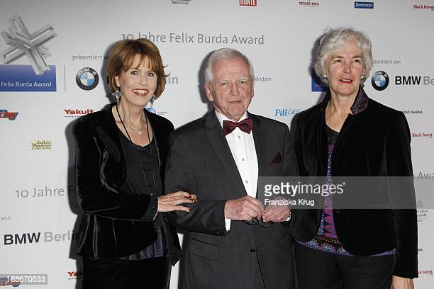 Harald zur Hausen with wife Michelle and Dr Christa Maar at the 10th Anniversary Of The Felix Burda Award at Hotel Adlon in Berlin