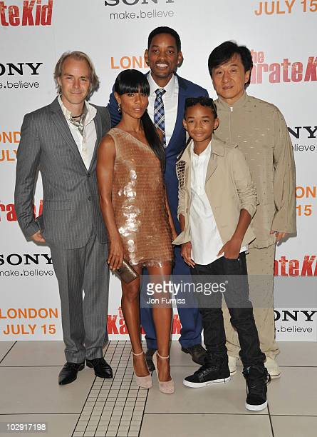 Harald Zwart, Jada Pinkett Smith, Will Smith, Jaden Smith and Jackie Chan attends the Gala Premiere of 'The Karate Kid' at Odeon Leicester Square on...