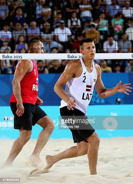 Haralds Rega of Latvi reacts during the Men's Beach Volleyball gold medal match between Latvia and Russia on day nine of the Baku 2015 European Games...
