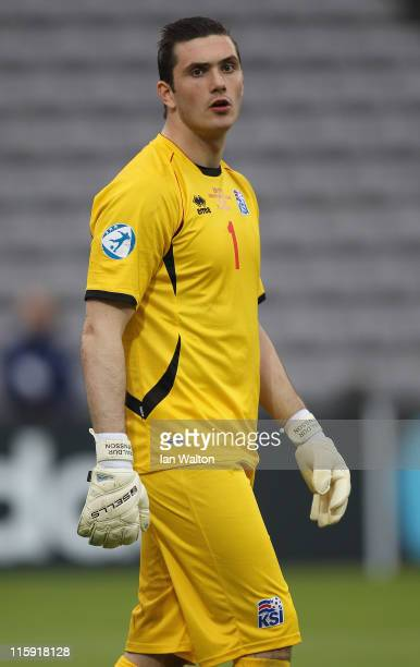 Haraldur Bjornsson of Iceland during their UEFA European Under21 Championship Group A match between Belarus and Iceland at the Aarhus stadium on June...