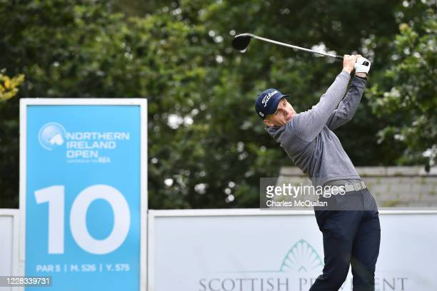 Haraldur Magnus hits his drive off the 10th tee during day two of the Northern Ireland Open at Galgorm Spa & Golf Resort on September 4, 2020 in...