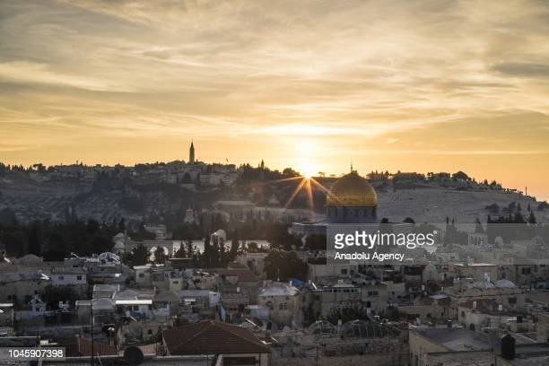Haram alSharif including Qubbat alSakhrah of AlAqsa Mosque Compound is seen during the sunrise in Jerusalem on October 05 2018