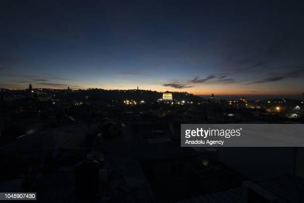 Haram alSharif including Qubbat alSakhrah of AlAqsa Mosque Compound is seen during the sunrise in Jerusalem on October 05 2018