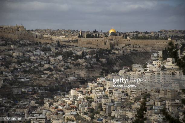 Haram alSharif including Qubbat alSakhrah of AlAqsa Mosque Compound is seen from Silwan neighborhood of Jerusalem's Old City on December 12 2018