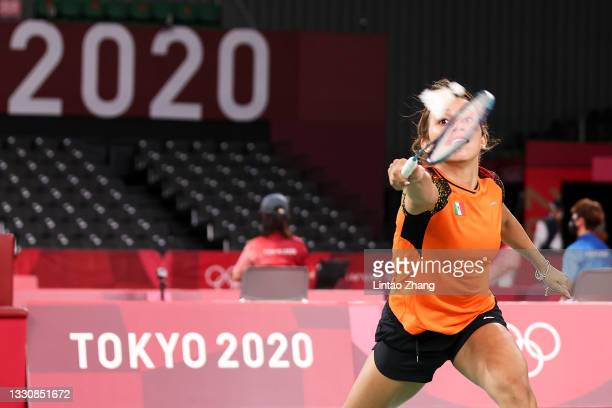 Haramara Gaitan of Team Mexico competes against Yeo Jia Min of Team Singapore during a Women's Singles Group K match on day four of the Tokyo 2020...