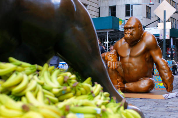 NY: Harambe Statue Placed By Wall Street's Charging Bull To Protest Wealth Disparity
