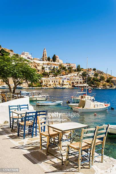 harani bay - symi stock photos and pictures