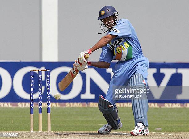 India's Ajit Agarkar plays a shoot off New Zealand's Jacob Oram during the final of the One Day International match 06 September 2005 India were...