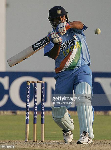India's batsman MS Dhoni batting in Harare 02 September 2005 during the fifth oneday International Triangular series match The Triangular series is...