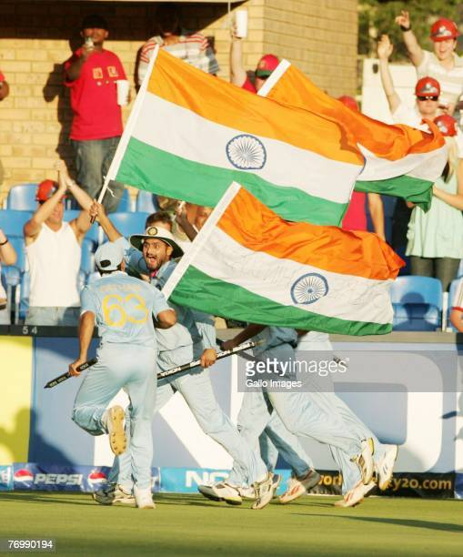 Harbahjan Singh and India celebrate their Victory during the final match of the ICC Twenty20 World Cup between Pakistan and India held at the...