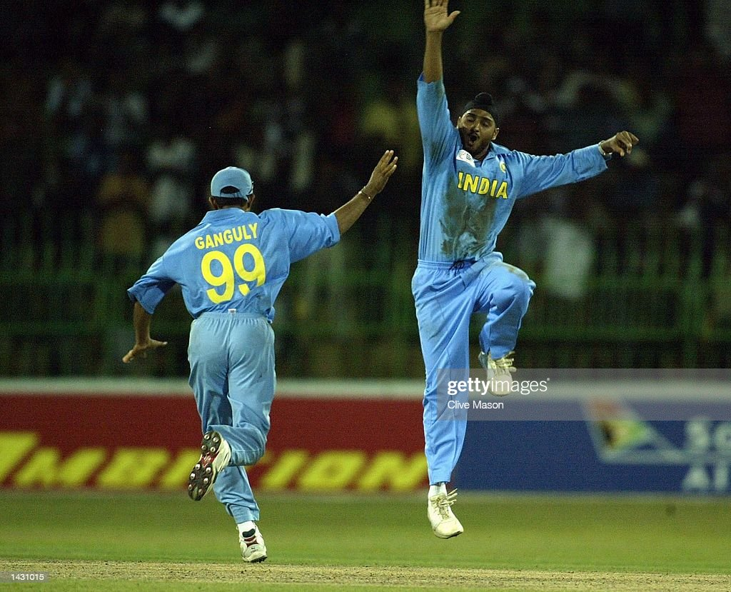 Harbahjan Singh of India celebrates dismissing Jonty Rhodes of South Africa : News Photo