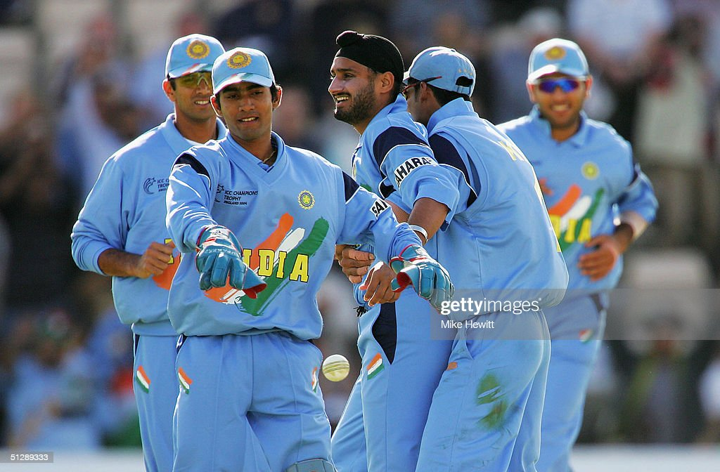 Harbajan Singh Of India Is Congratulated For Capturing The Wicket Ravindu Shah Kenya