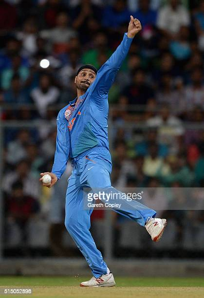 Harbhajan Singh of India bowls during the ICC Twenty20 World Cup warm up match between India and South Africa at Wankhede Stadium on March 12 2016 in...