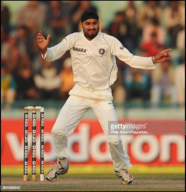 Harbhajan Singh of India celebrates a wicket during the 2nd Test match between India and England at the Punjab Cricket Association Stadium Mohali...