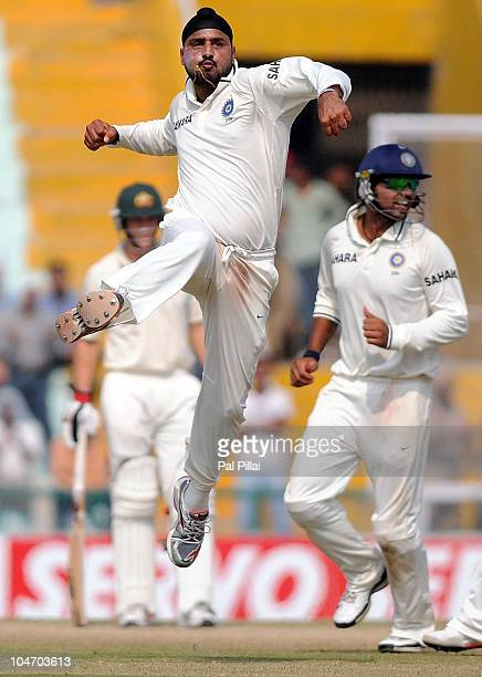 Harbhajan Singh of India celebrates after capturing the wicket of Marcus North during day four of the First Test match between India and Australia at...