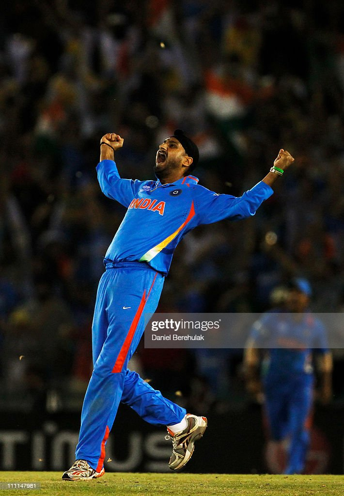 Harbhajan Singh of India celebrates after taking the wicket of Shahid Afridi of Pakistan during the 2011 ICC World Cup second Semi-Final between India and Pakistan at Punjab Cricket Association (PCA) Stadium on March 30, 2011 in Mohali, India.