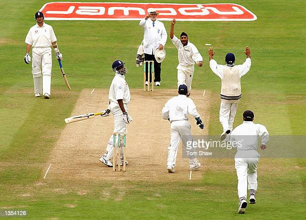 Harbhajan Singh of India celebrates the wicket of Alex Tudor of England during the fifth day of the third Npower test match at Headingley in Leeds on...