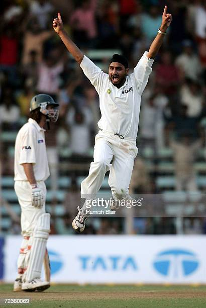 Harbhajan Singh of India celebrates the wicket of Michael Kasprowicz of Australia during day three of the Fourth Test between India and Australia at...