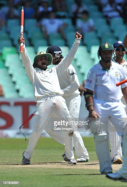Harbhajan Singh of India celebrates the win by 87 runs during day 4 of the 2nd Test match between South Africa and India at Sahara Stadium Kingsmead...