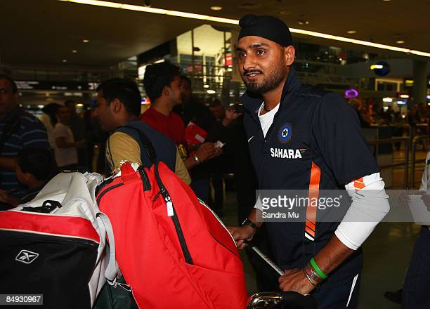 Harbhajan Singh of India walks through the arrivals hall as the Indian cricket team arrive at Auckland International Airport on February 20 2009 in...