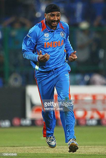 Harbhajan Singh of Inida celebrates bowling of Jason Krejza of Australia for LBW during the 2011 ICC World Cup Warm up game between India and...