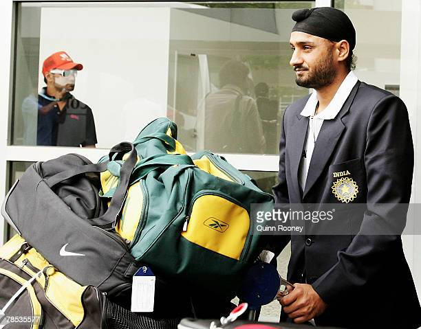 Harbhajan Singh of the Indian cricket team arrives at Melbourne Airport on December 18 2007 in Melbourne Australia